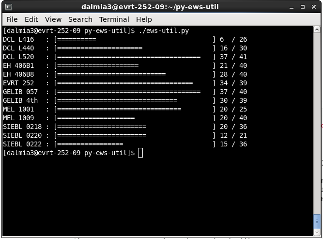 A screenshot of py-ews-util in action