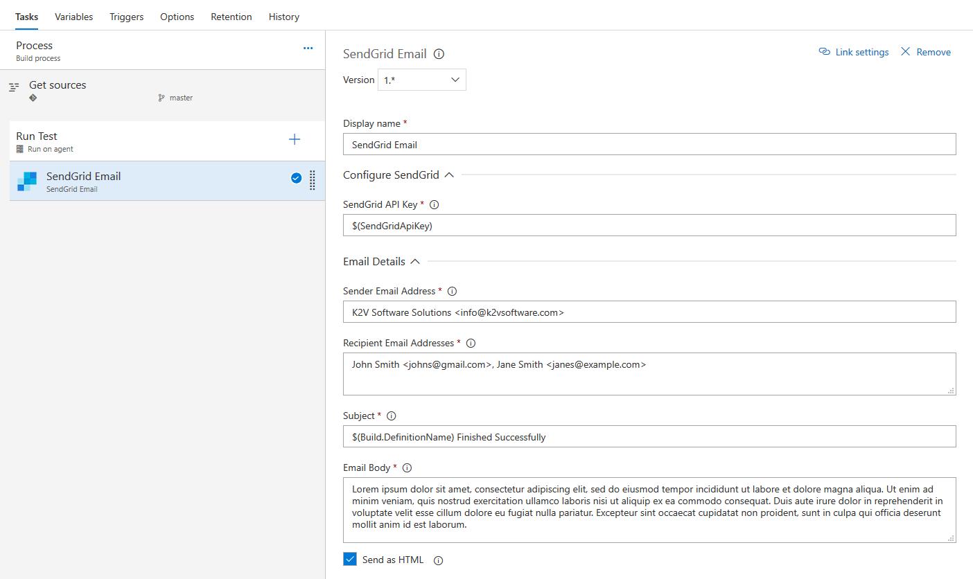Configure SendGrid Email Task
