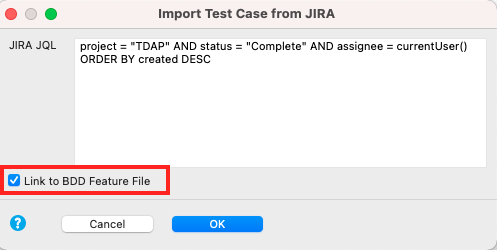Import the BDD feature files