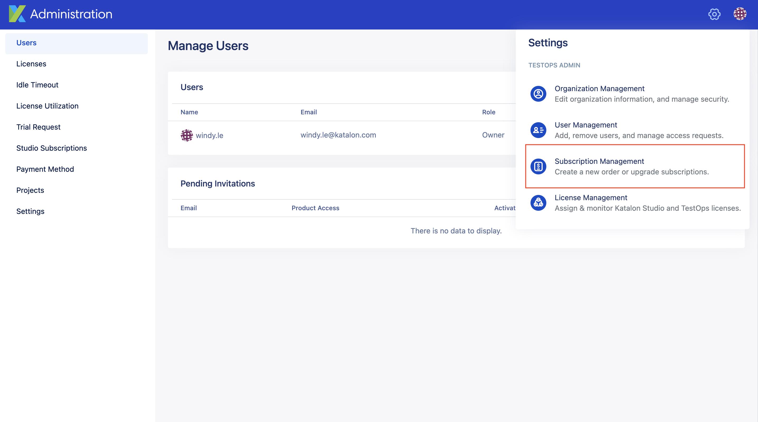 subs management on testop web