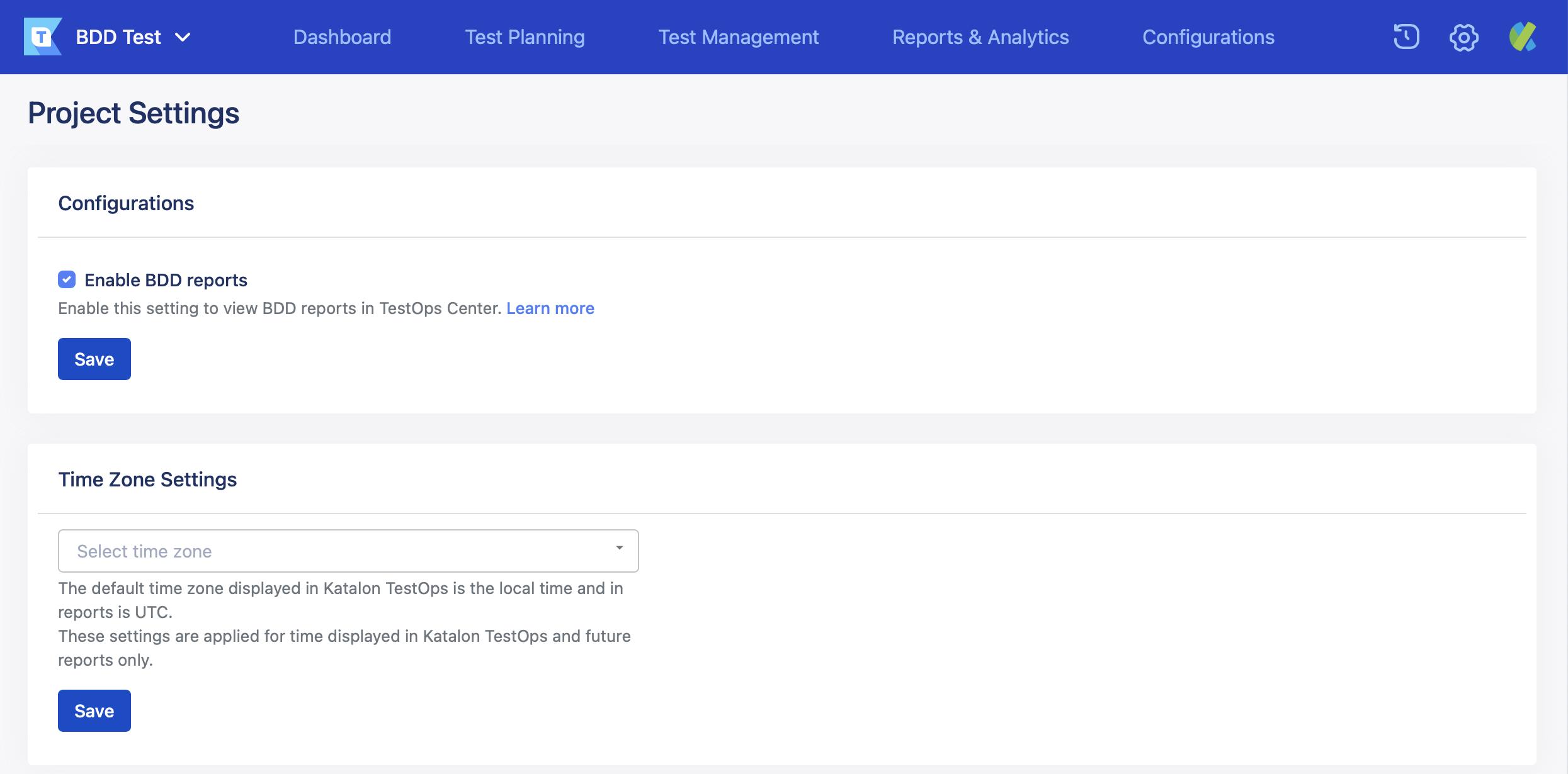 enable bdd report box in testops