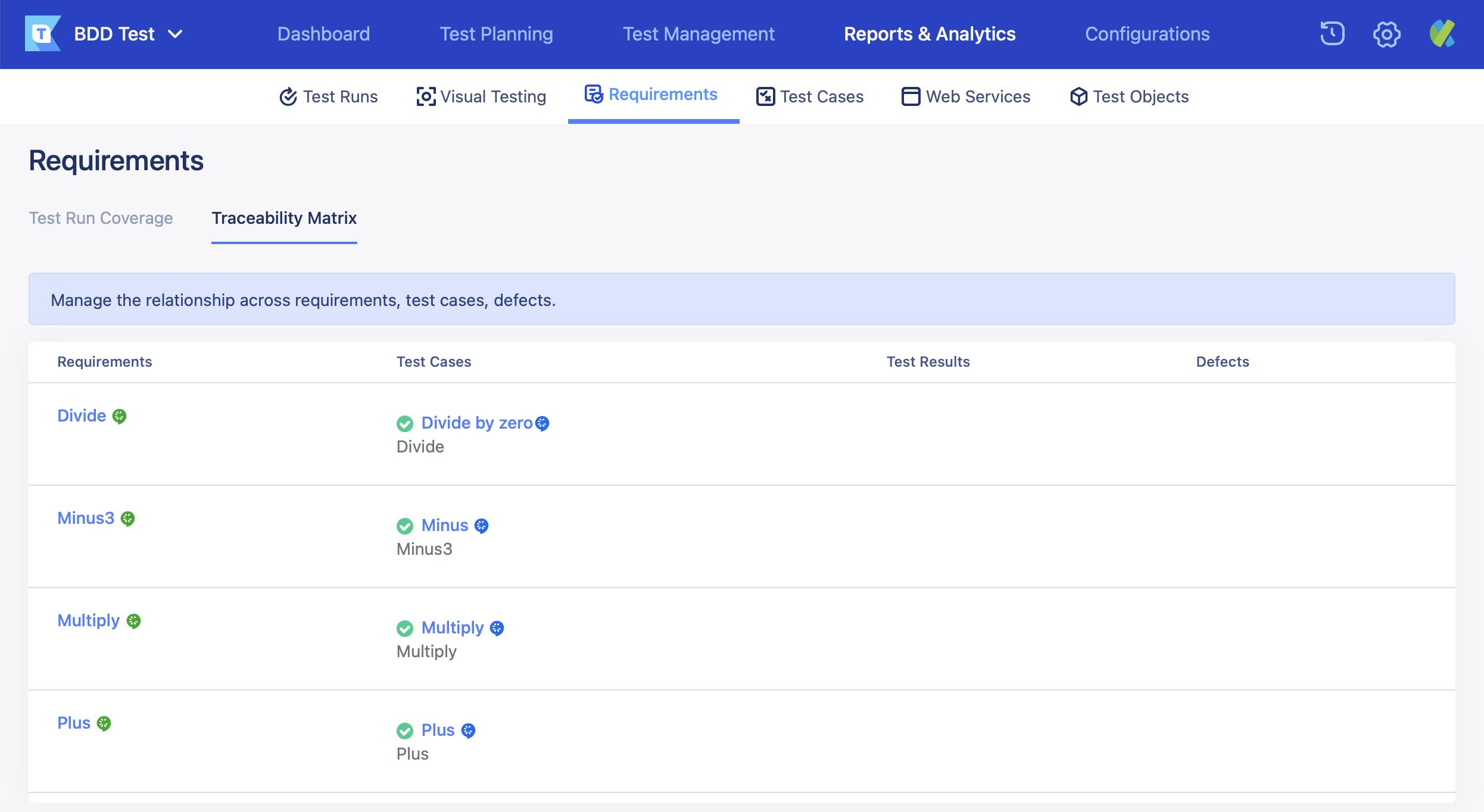 traceability matrix page