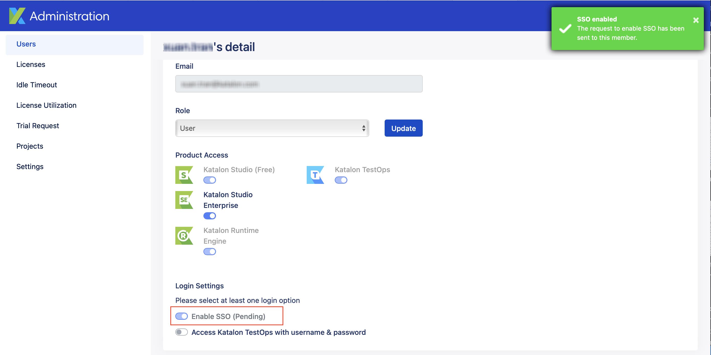 enable sso pending request sent box