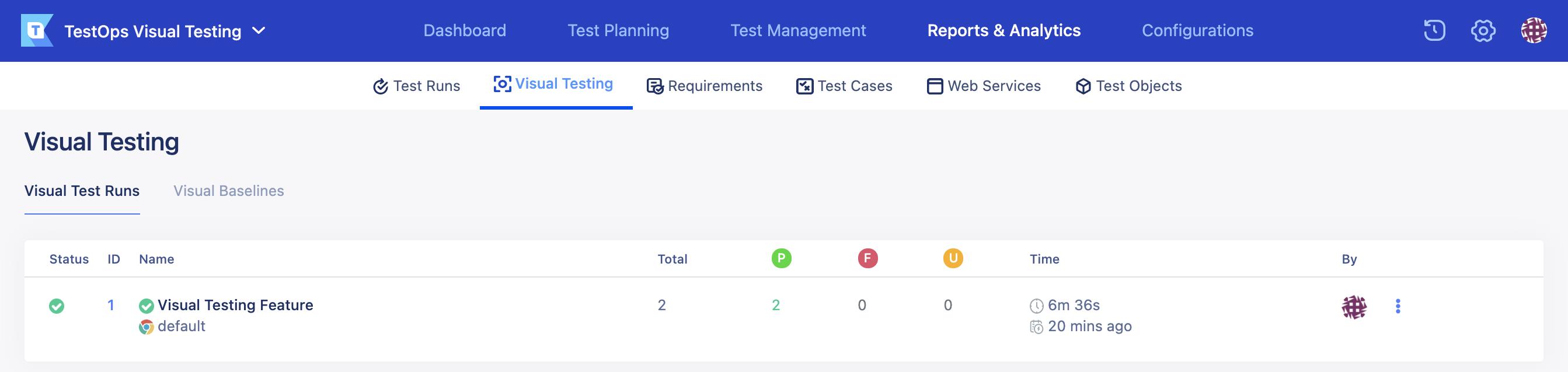 visual test runs page in visual testing