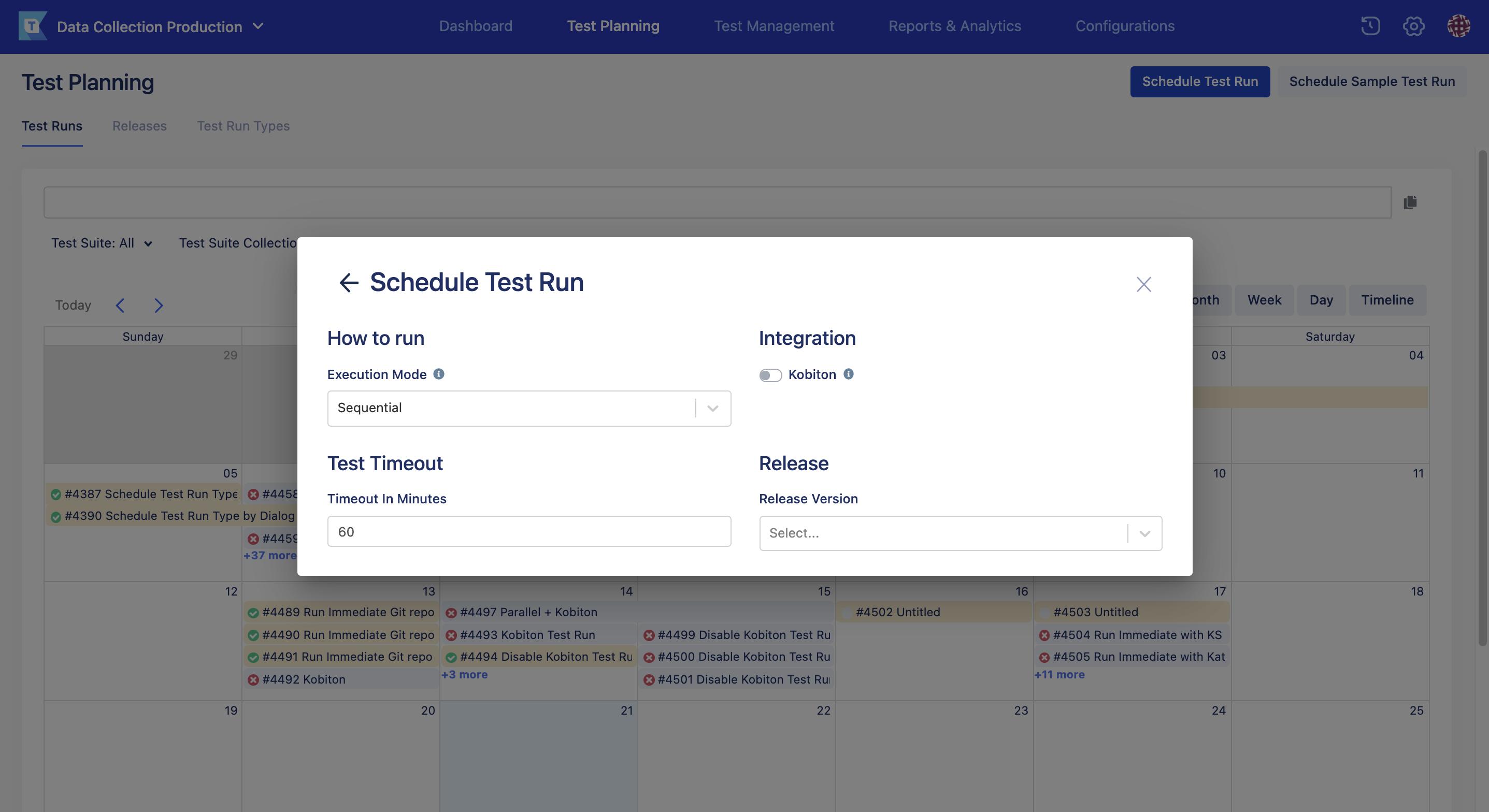 schedule test run page new UI automatic run