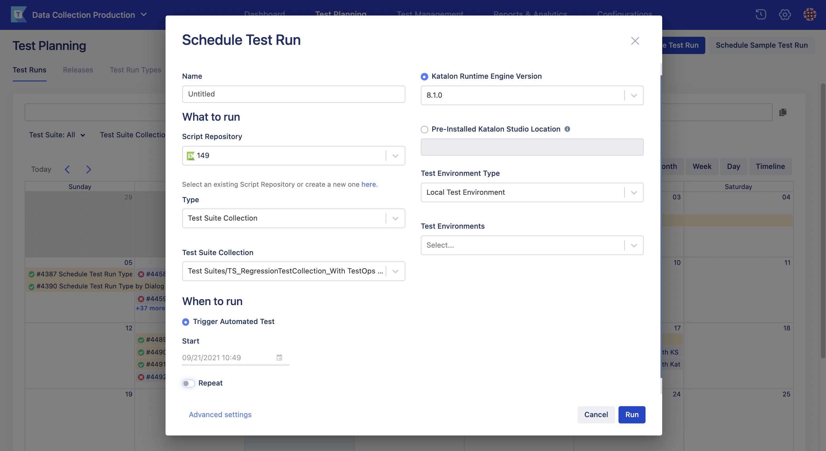 schedule test run page new UI manual run