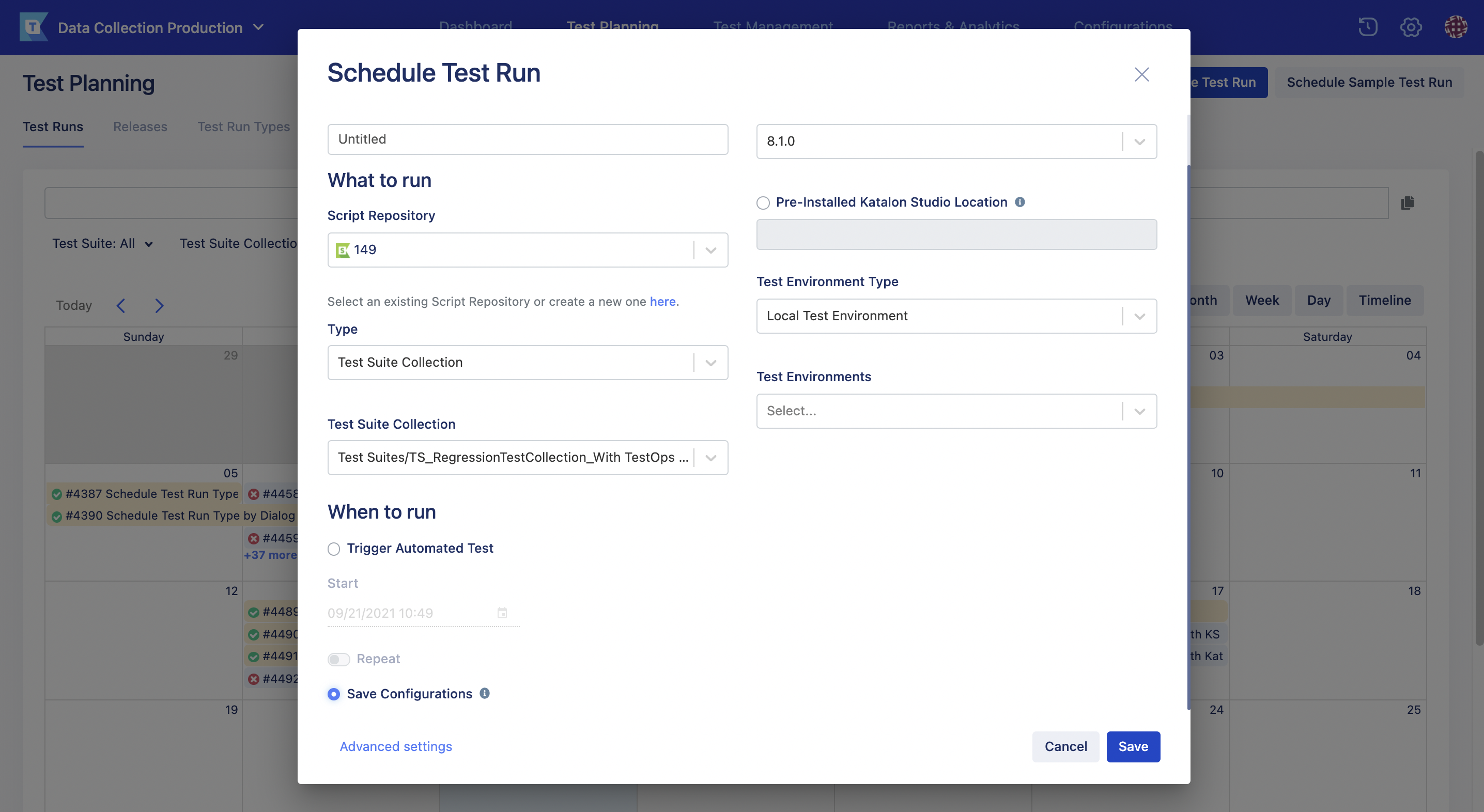 schedule test run page new UI save config