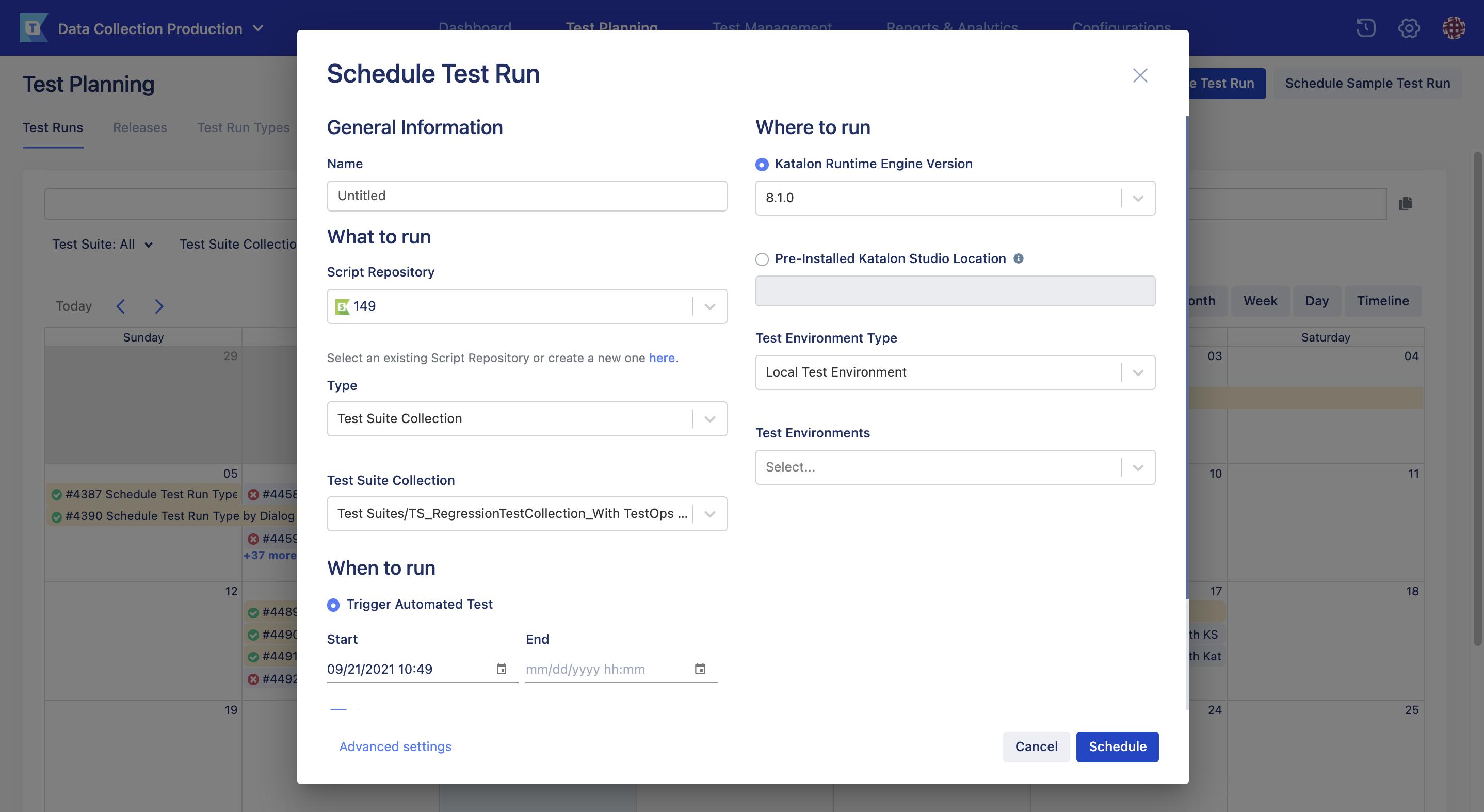 schedule test run page new UI
