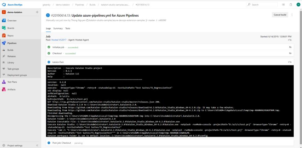 Azure DevOps extension result 1