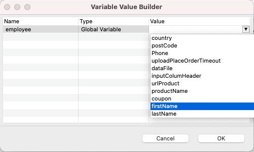 Secify Value in Script Variable