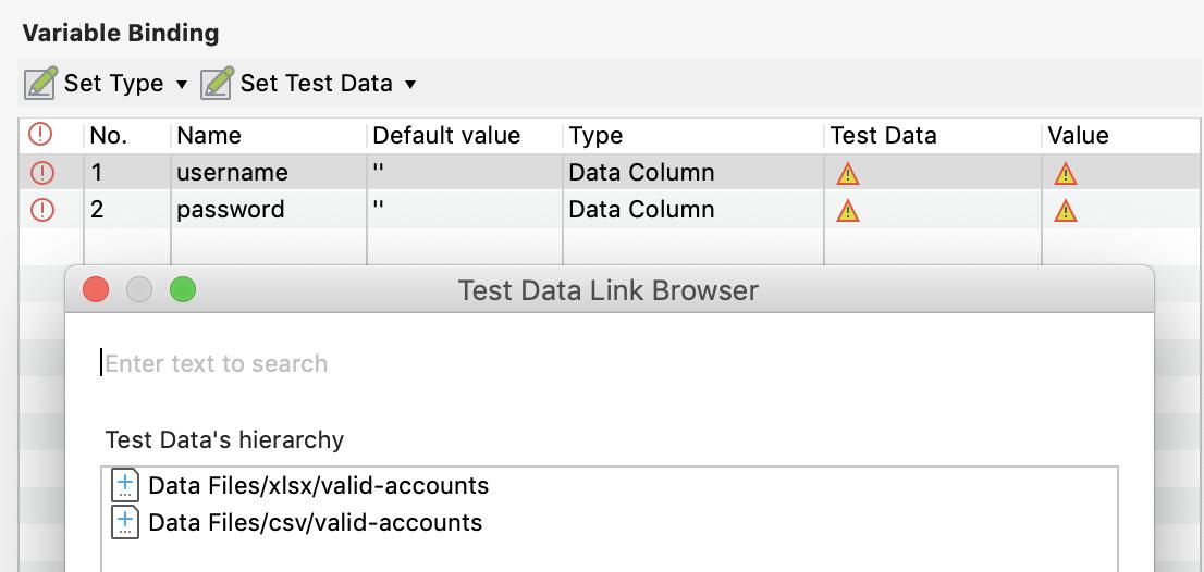 Choose Test data for Data Type