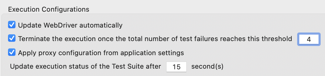 configure number of test failures