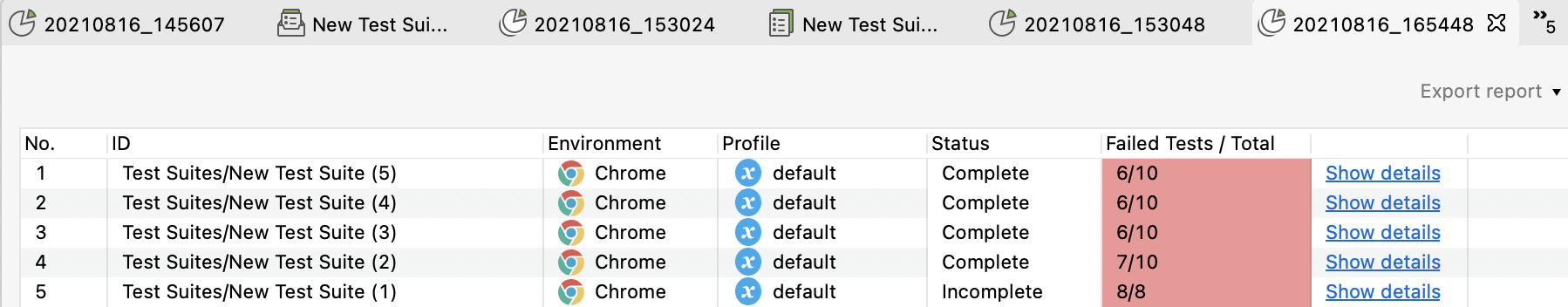 report test suite collection in parallel mode