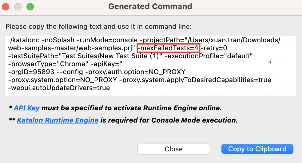 execute with the configured number of test failures