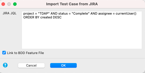 Copy and paste JQL script into the Jira JQL