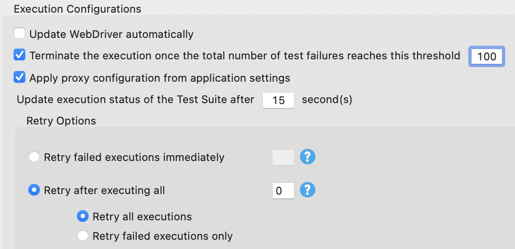 execution configurations