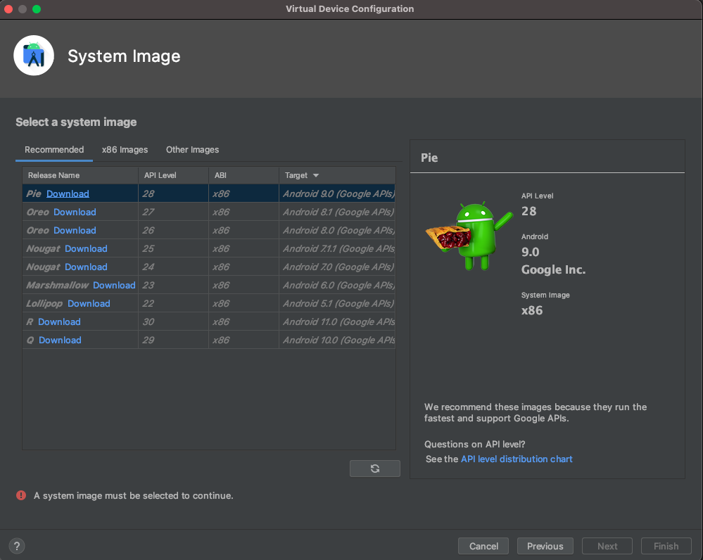 Select system image