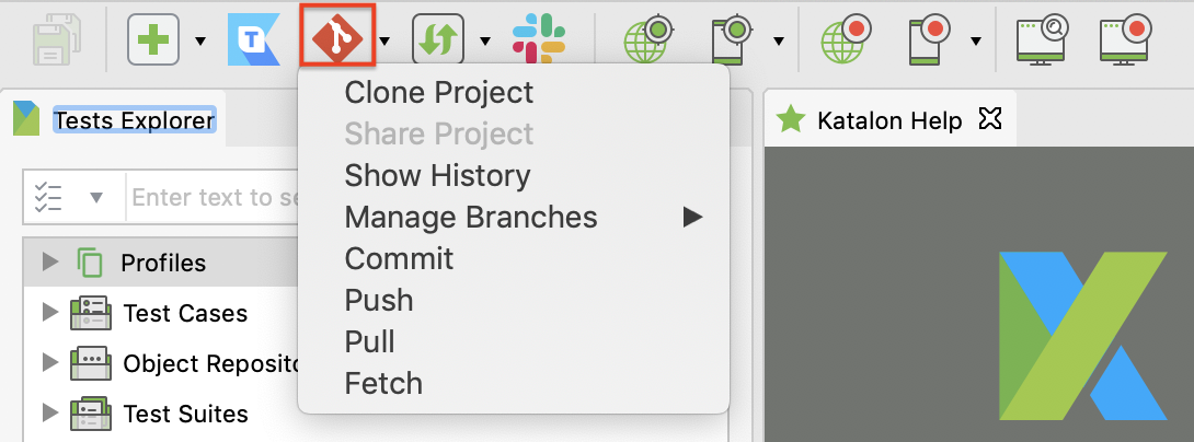 Git integration feature enabled