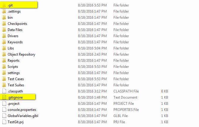 Folder git and file gitignore