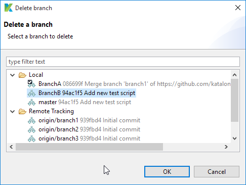 Select a branch to be deleted