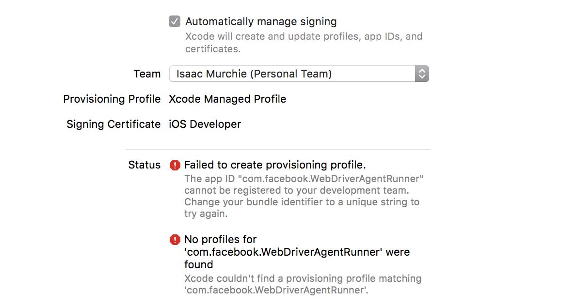 Xcode provisioning fail