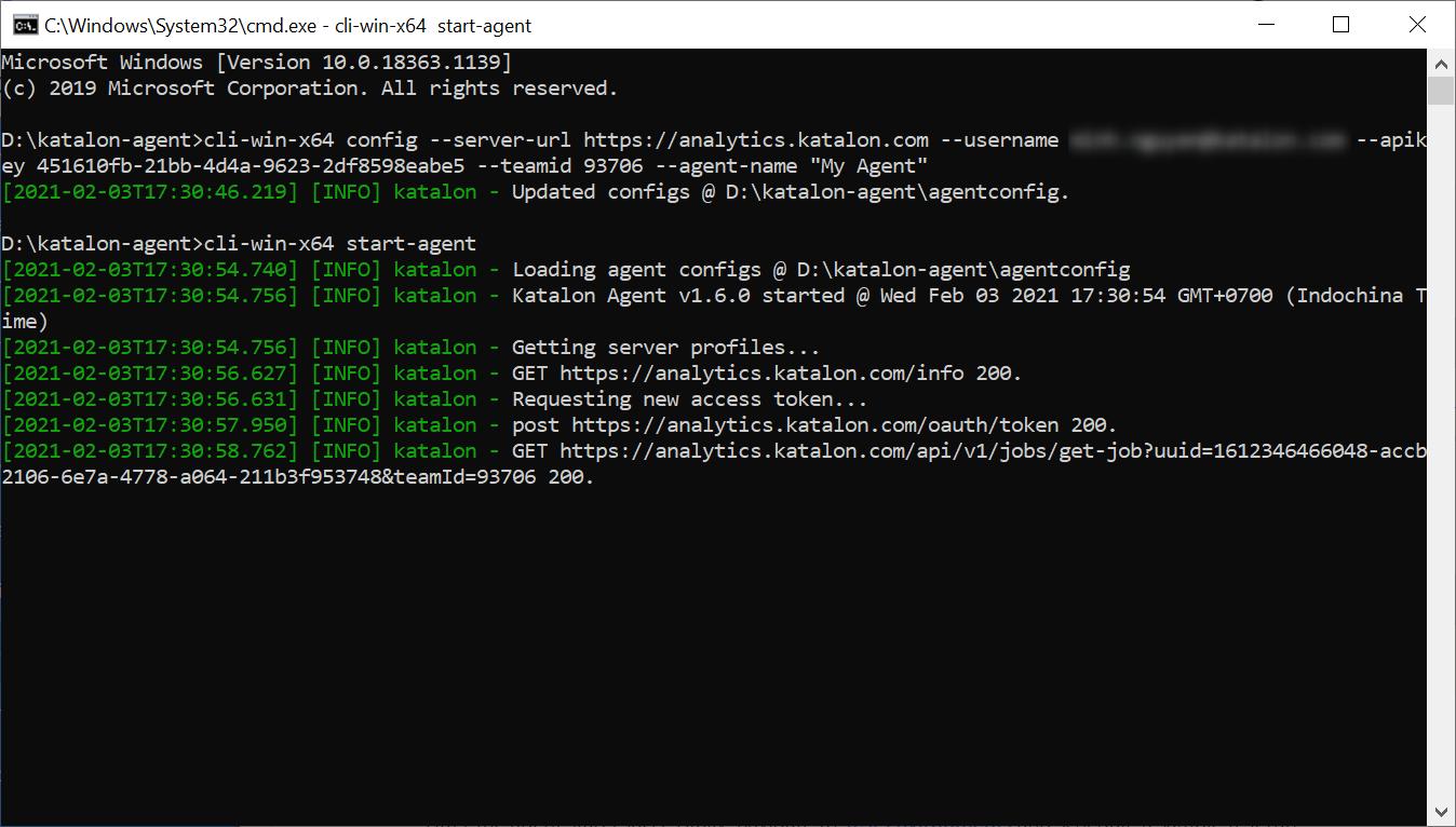 windows cmd start an agent command