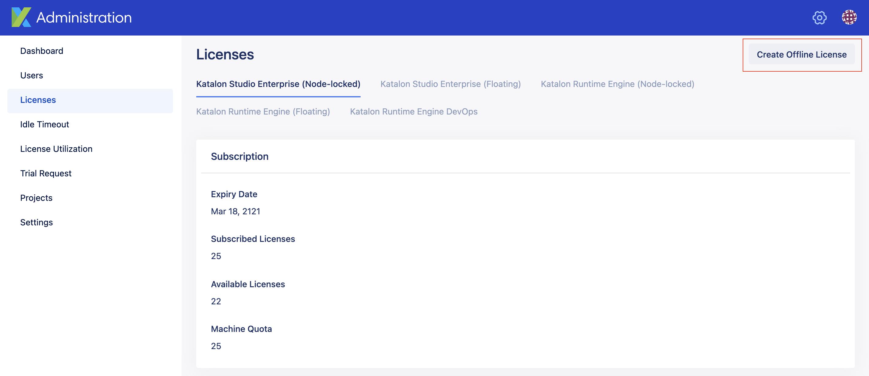create offline license button