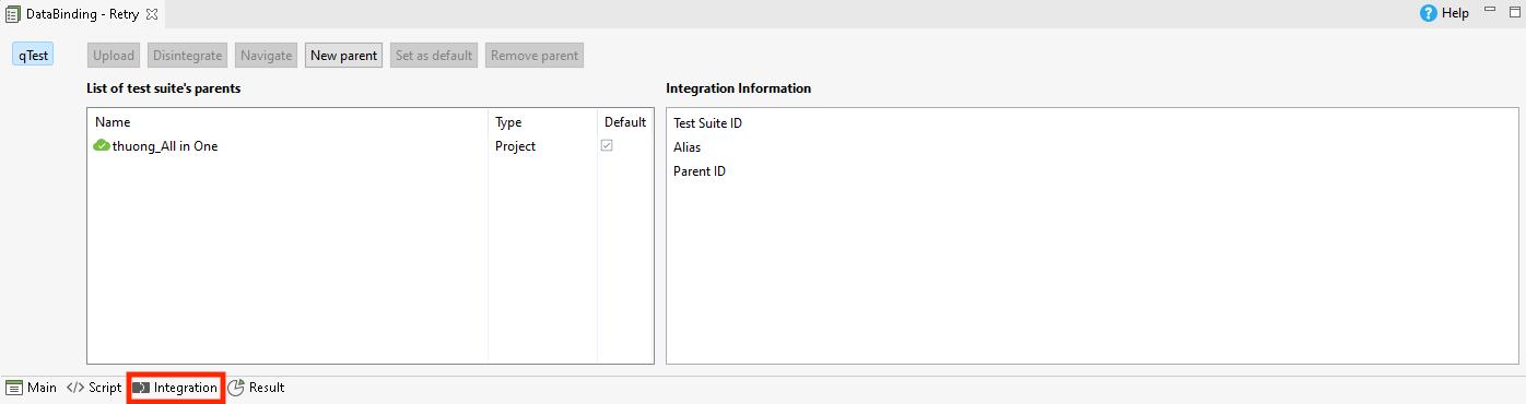 integration tab