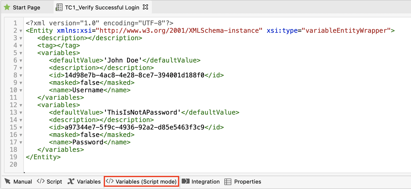 variable script