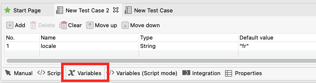 test case with variables