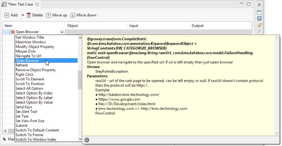 Open Browser Keyword Katalon Studio