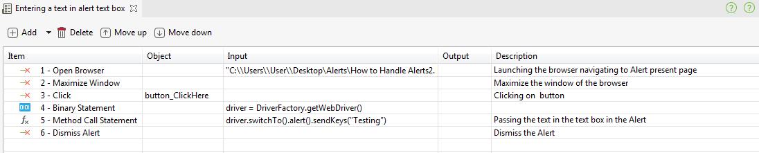 Send data to an alert dialog using Katalon Studio
