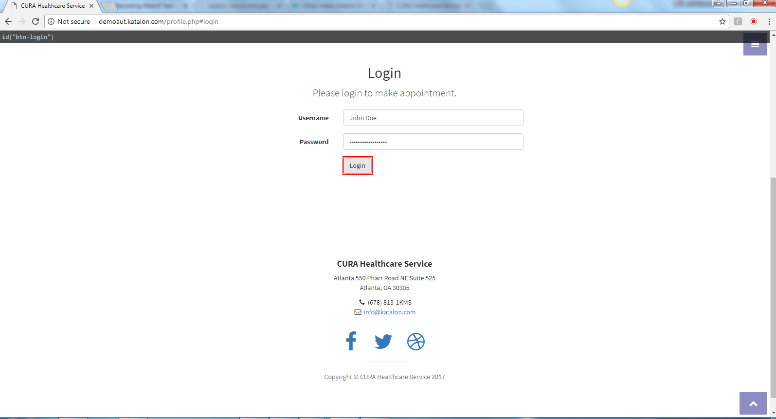 move the cursor to Login Button and click on Login Button