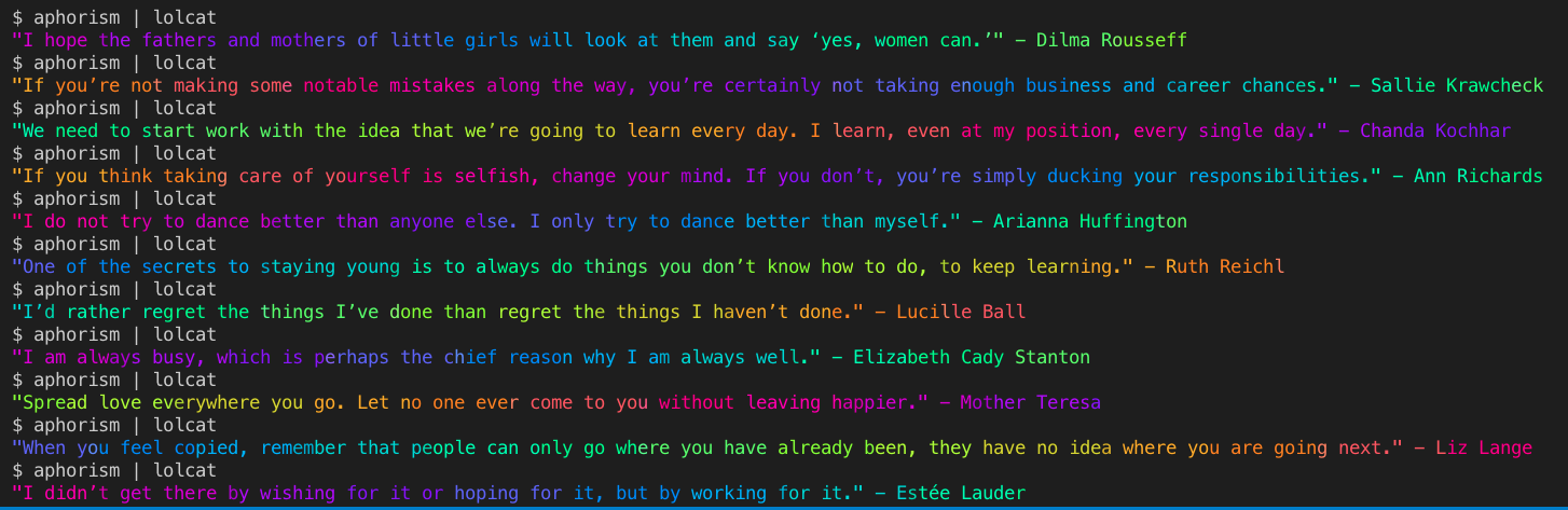demo image of aphorisms being populated in rainbow colors