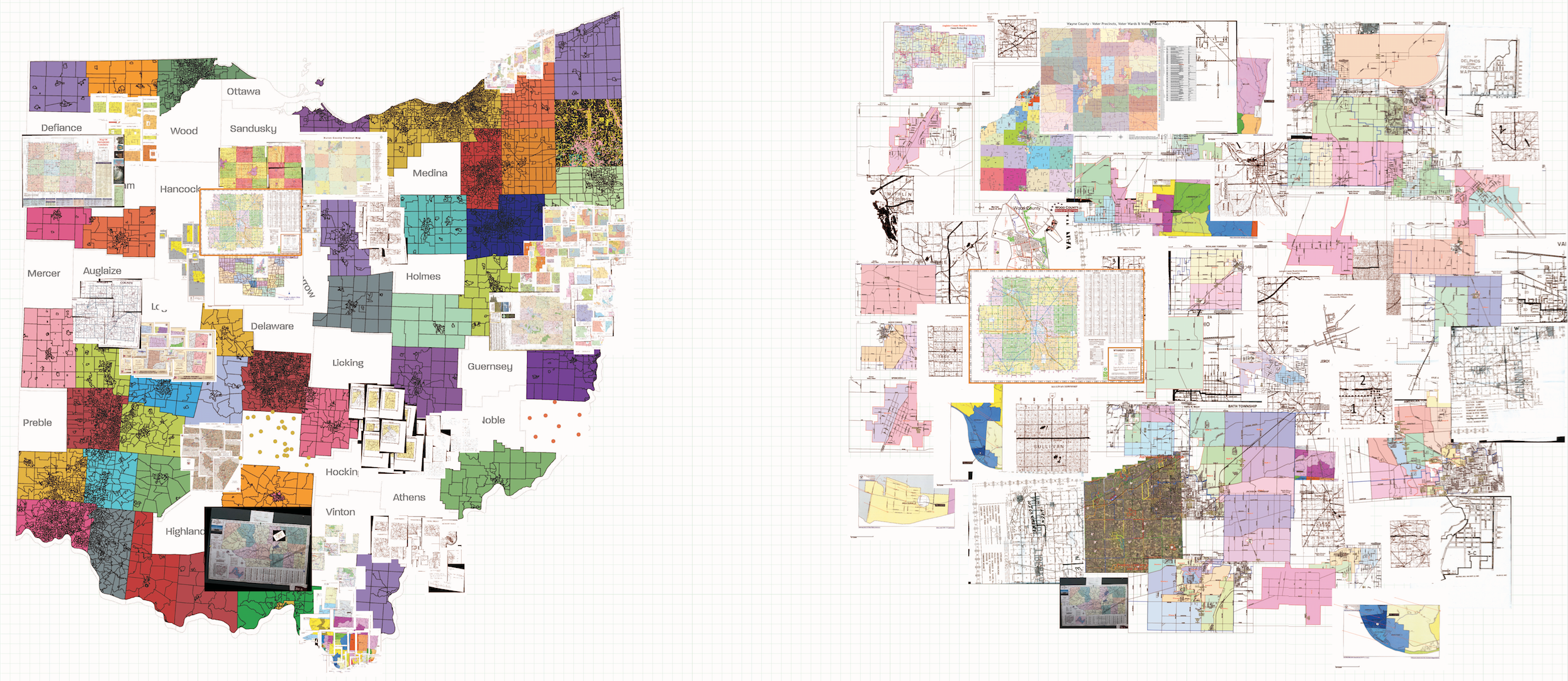 Image of the shapefiles and PDF maps we received