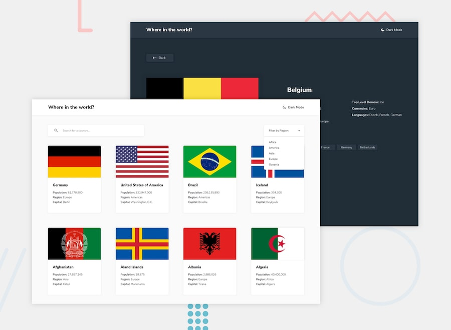 Design preview for the REST Countries API with color theme switcher coding challenge
