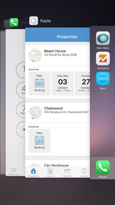 Screenshot of the multi-tasking screen