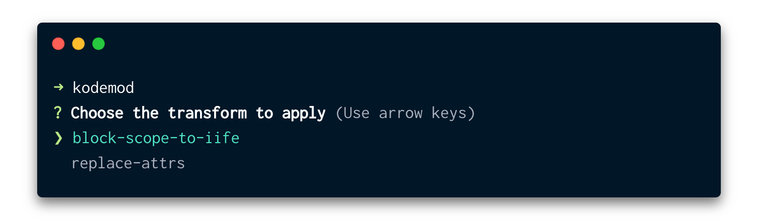kodemod CLI screenshot