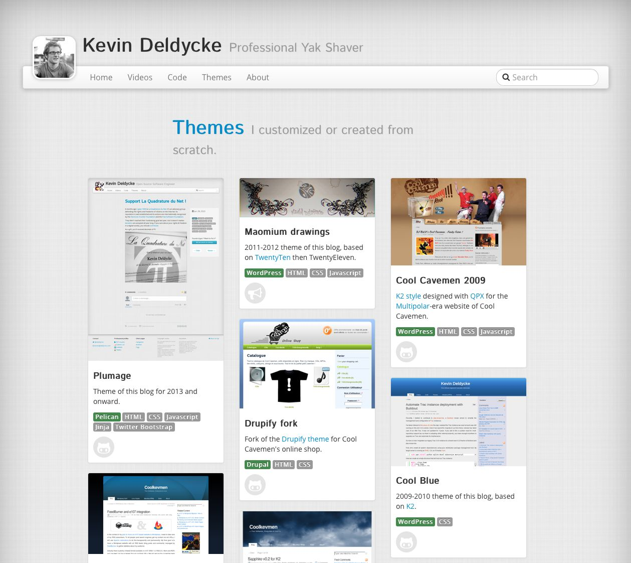 Plumage projects: themes showcase