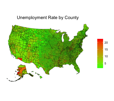 Mapping County Unemployment with blscrapeR