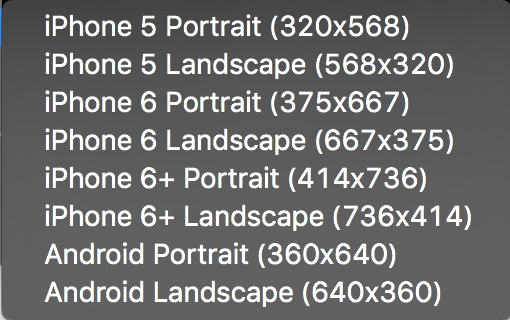 Sketch Mobile Sizes