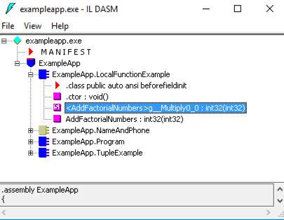 IL Code showing private static function
