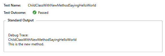 Child class with new method saying hello world
