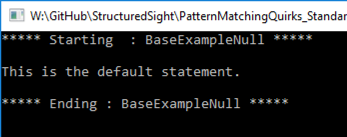 Shows default code executed.