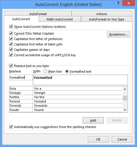 Formatting menu