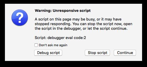Firefox script not responsive warning