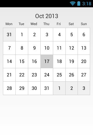 CalendarCard screenshot