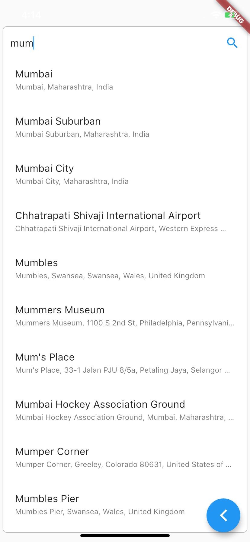 Flutter Map Widget Search 2