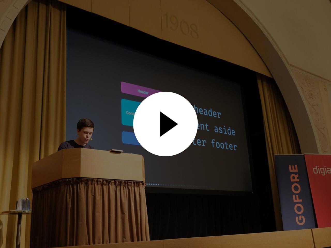Artem speaking at React Finland