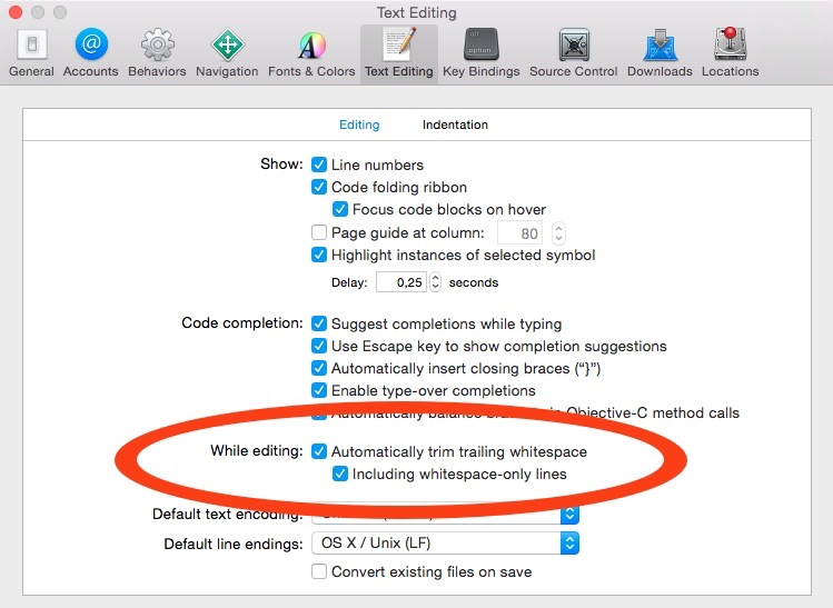 Xcode trim whitespaces